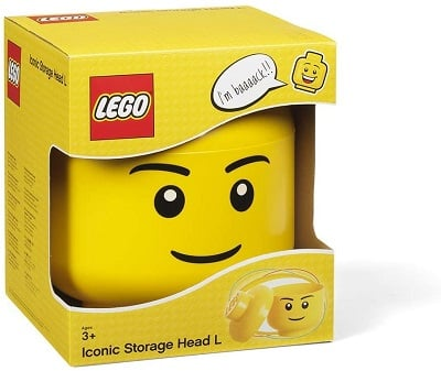 Small and Large LEGO Storage Heads (Yellow, Boy or Girl)